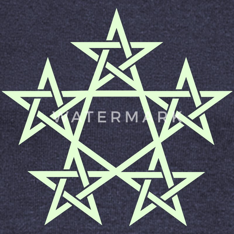 Pentagram, Glow in the dark, 5 Stars, Magic Felpe - Felpa con scollo a barca da donna, marca Bella