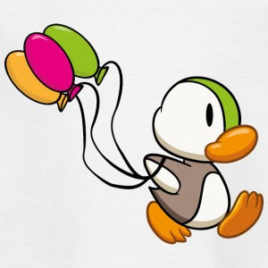 Ente mit Ballon, Luftballon, Cartoon T-Shirts - Kinder T-Shirt