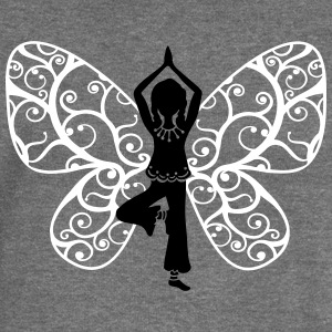Yoga fairy, butterfly wings, girl, Asana, teacher Hoodies & Sweatshirts - Women's Boat Neck Long Sleeve Top