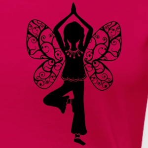 Yoga girl, butterfly wings, fairy, asana, teacher Koszulki - Koszulka damska Premium