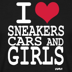 Schwarz i love sneakers cars and girls T-Shirts - Männer T-Shirt