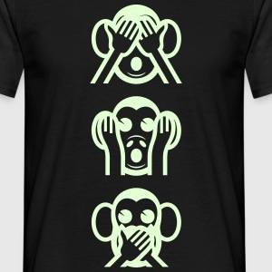 Three Wise Monkeys Emoticon Vertical T-Shirts - Men's T-Shirt