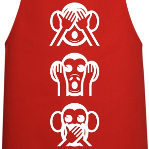 Three Wise Monkeys Emoticon Vertical Aprons - Cooking Apron