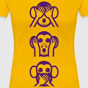 Three Wise Monkeys Emoticon Vertical T-Shirts - Women's Premium T-Shirt