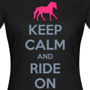Keep Calm and Ride On Horse Design T-shirts - Dame-T-shirt