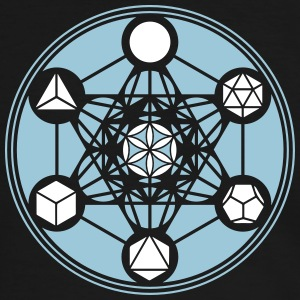 Platonic Solids, Metatrons Cube, Flower of Life T-shirts - Mannen contrastshirt