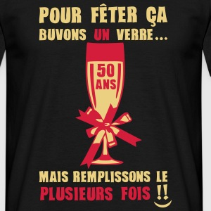 50 ans flute champagne verre anniversair Tee shirts - T-shirt Homme