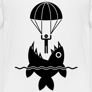 Parachutist with fish / Fallschirmspringer mit Fisch / Parachutiste avec poisson (1C) Classic Teenager T-Shirt - Teenage Premium T-Shirt