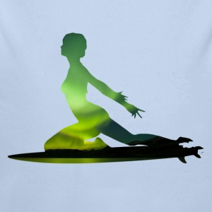 Northern Lights Surfer Girl - Wave Sports Scene 02 Gensere - Økologisk langermet baby-body