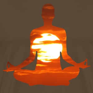 Yoga pose meditating in the sunset. 01 T-Shirts - Men's Premium T-Shirt