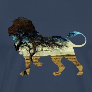 Lion in steppe T-shirts - Herre premium T-shirt