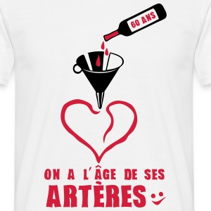 60 ans age arteres anniversaire bouteill Tee shirts - T-shirt Homme