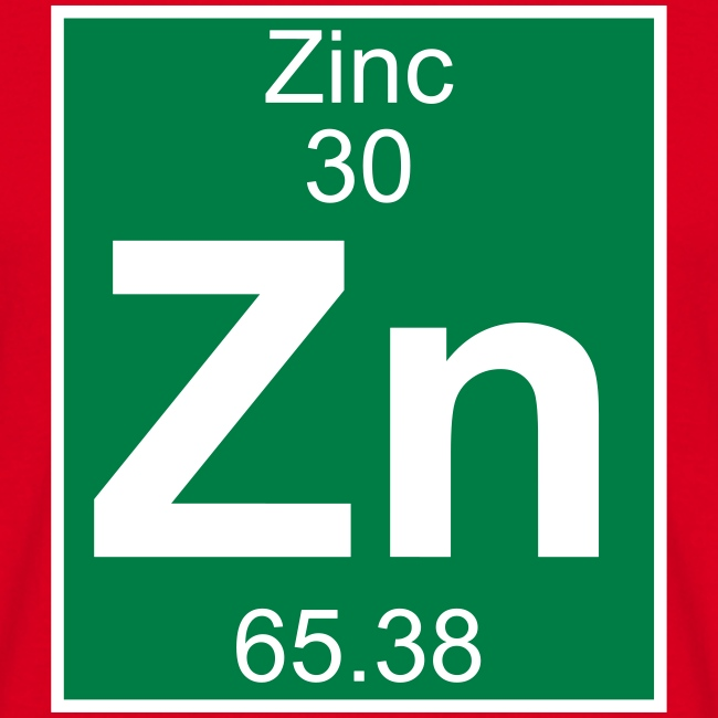 Periodic Table Words Zinc Zn Element 30 Full 2 Col Shirt