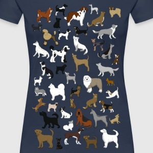 many dogs pixel T-shirts - Dame premium T-shirt