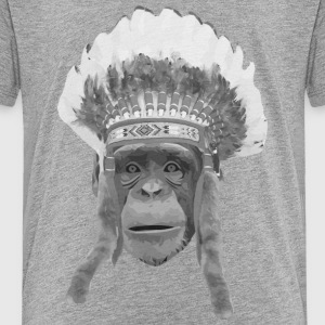 indian headdress monkey T-Shirts - Kinder Premium T-Shirt