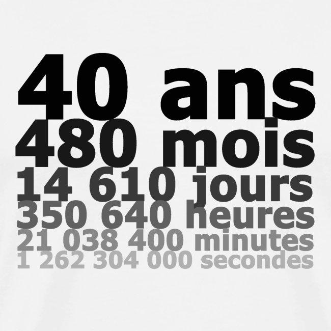 tee shirt danniversaire de 40 ans 40 ans milliardaire en secondes t shirt premium homme. Black Bedroom Furniture Sets. Home Design Ideas