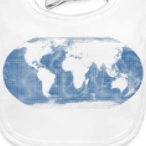world map blue Accessories - Baby Organic Bib