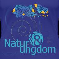 Motiv ~ dame t-shirt, blåt logo, ikke øko