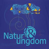 Motiv ~ børne t-shirt, blåt logo, ikke øko