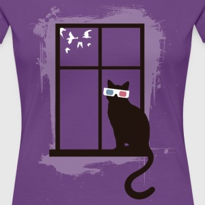Cinema Cat T-shirts - Dame premium T-shirt