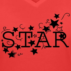STAR  Women's V-Neck T-shirt - Women's V-Neck T-Shirt