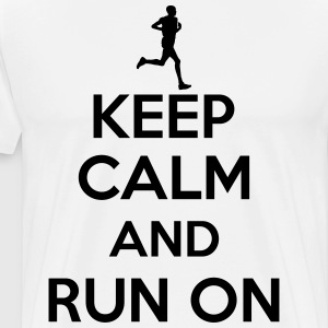 Keep calm and run on T-skjorter - Premium T-skjorte for menn