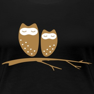 owl couple with hearts ugle par med hjerter T-shirts - Dame premium T-shirt