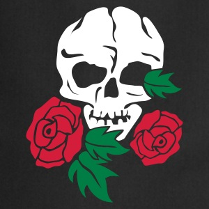 Zwart skull and rose Kookschorten - Keukenschort