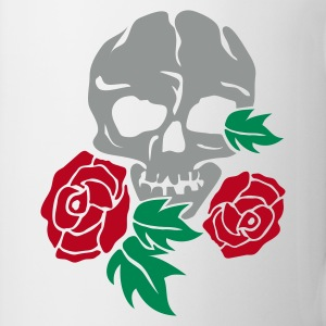Hvid skull and rose Krus - Kop/krus