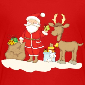 Santa Claus with presents and reindeer - Premium T-skjorte for barn