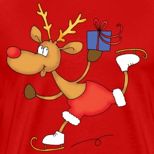 Rudolph on skates - Premium T-skjorte for menn