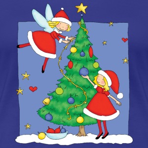Christmas Angels decorating tree - Premium T-skjorte for kvinner