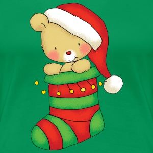 Christmas Bear in Stocking - T-shirt Premium Femme