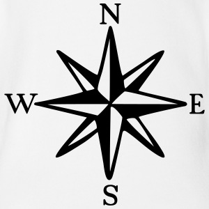 Compass Rose with Cardinal Points (monochrome) Shirts - Organic Short-sleeved Baby Bodysuit