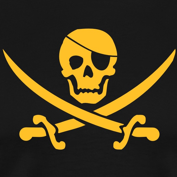 Pirate flag blackjack T-Shirts - Men's Premium T-Shirt