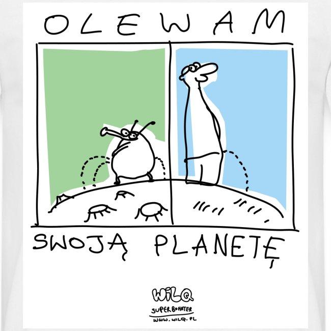 Olewam planetę na prostej koszulce