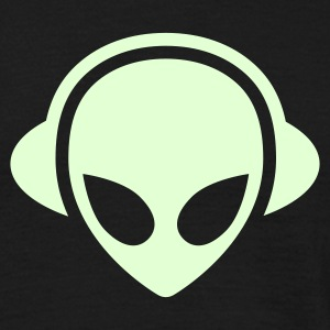 Black Alien headphones Glow in the dark Men's Tees - Men's T-Shirt