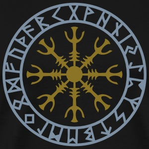 Aegishjalmur, Helm of awe, Sigil, Rune magic T-shirts - Herre premium T-shirt
