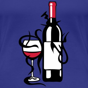 bouteille verre vin pinard rouge alcool Tee shirts - T-shirt Premium Femme