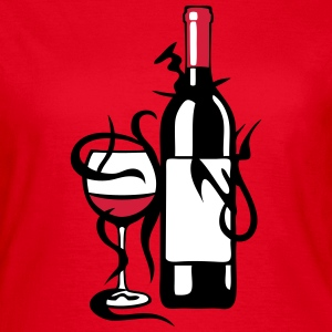 bouteille verre vin pinard rouge alcool Tee shirts - T-shirt Femme