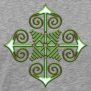 Chaos Star, Symbol of chaos, green / gold, Everything has meaning and magic power! Power symbol, Energy symbol T-shirts - Mannen Premium T-shirt