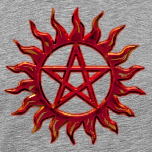 Pentagram - Blazing Star- Sign of intellectual omnipotence and autocracy. digital red, Star of the Magi , powerful symbol of protection T-shirt - Maglietta Premium da uomo
