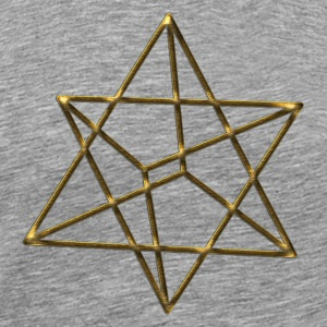 Merkaba, 3D, gold, divine light vehicle, sacred geometry, star tetrahedron, flower of life T-shirt - Maglietta Premium da uomo