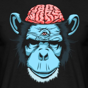 Sort Brain Chimp T-shirts - Herre-T-shirt