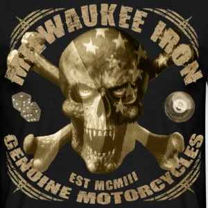 milwaukee iron skull vintage motorcycle - Men's T-Shirt