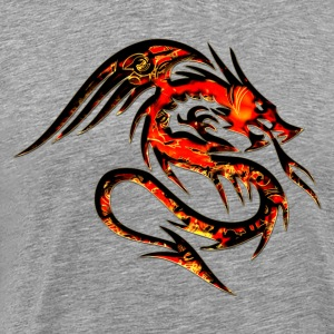 Feuer Drache, fire dragon, digital, rot T-Shirts - Men's Premium T-Shirt