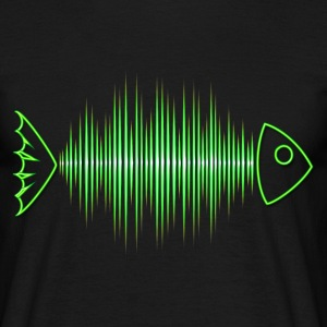Fish skeleton, music, wave, party, frequency, dj - Men's T-Shirt