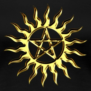 Pentagram - Blazing Star- Sign of intellectual omnipotence and autocracy. digital gold, Star of the Magi , powerful symbol of protection Tee shirts - T-shirt Premium Femme