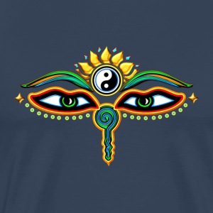 Eyes of Buddha, symbol wisdom & enlightenment,  T-shirts - Herre premium T-shirt