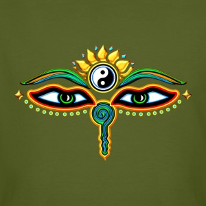 Eyes of Buddha, symbol wisdom & enlightenment,  Tee shirts - T-shirt bio Homme